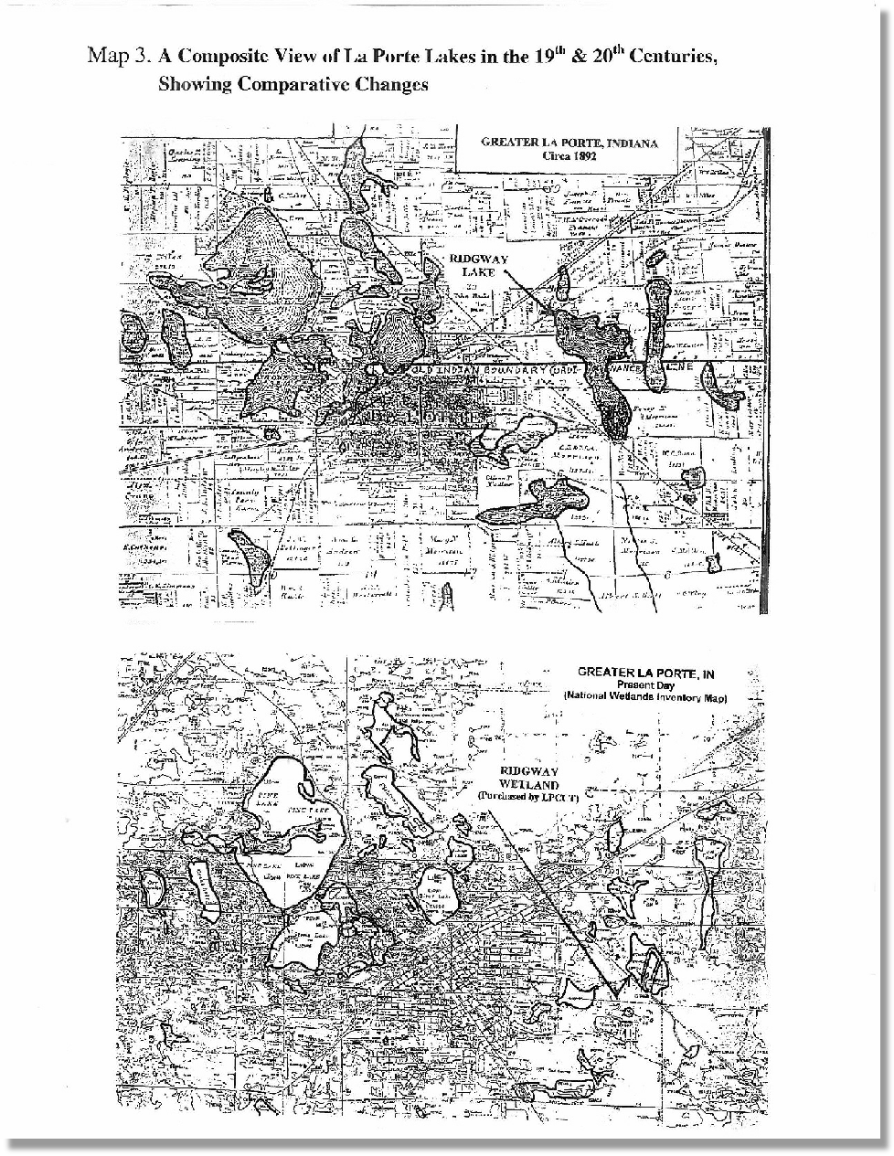 Comparitive Changes to La Porte Lakes - 19th to 20th Centuries